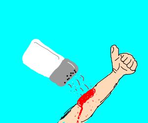 salt shaker pouring blood on someones arm