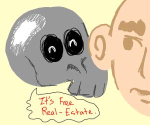 floating skull whispering in persons ear