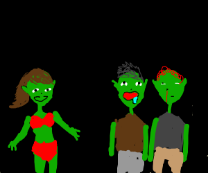 Alien boys are mesmerized by sexy girl alien