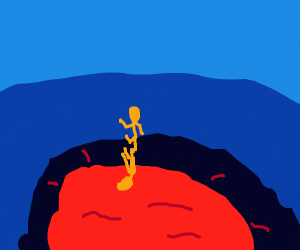 A guy being put into a volcano for his sins