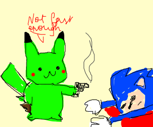 green pikachu killed sonic