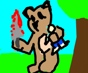 Bear carrying guy with knife