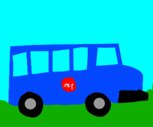 Blue school bus!