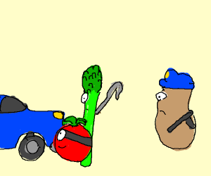 vegetables plan to steal car; potato cop sees