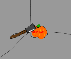 sad pumpkin is hit with an axe