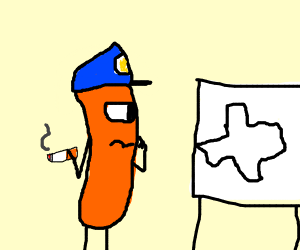 Hot dog police stares at picture of Texas