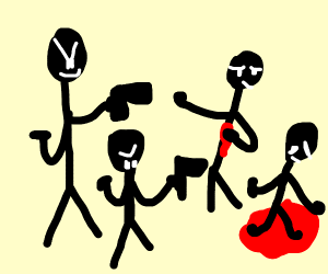 stick figures murders two others with gun