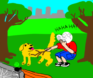 blushing guy pokes dog while a spider watches