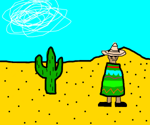 Man with no arms and sombrero on head