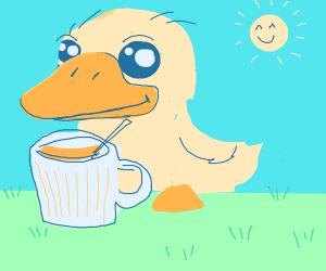A cute duckling enjoys its coffee!