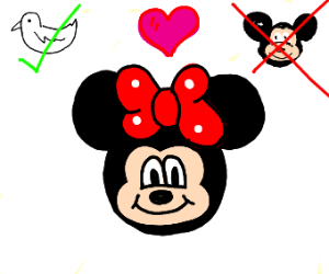 minnie mouse likes donald duck, not mickey.