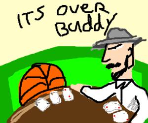 People play basketball