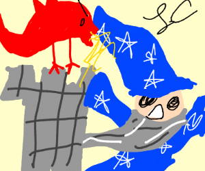 wizzard flees from castle attacked by dragon