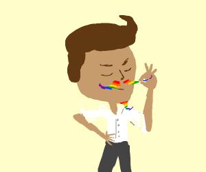 man with rainbow mustache