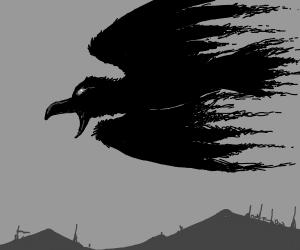 Evil raven flying