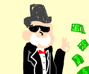 Monopoly man with a pile of cash