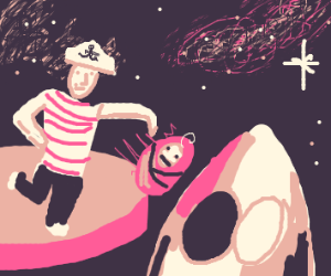Sailor throws a baby onto a spaceship