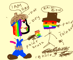 gay person painting his friend rainbow