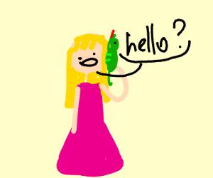 women says hello on lizard phone