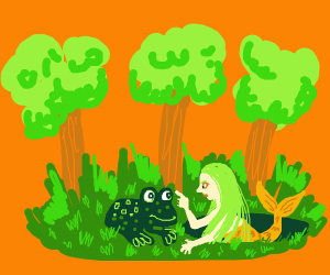 Forest Mermaid meets a frog