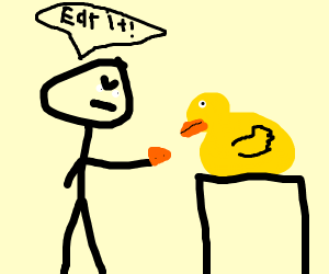 man force-feeding a duck