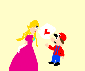 Mario talks with Peach about hearts.