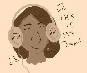 "Girl listening to music says ""This is my jam"""