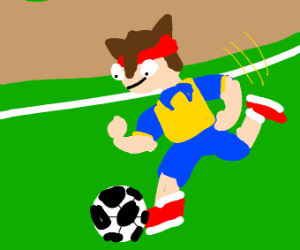 Football player with the ball