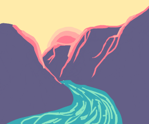 beautiful sunrise/set over a canyon river