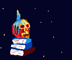 Candle skull rests on books in the cosmos
