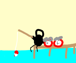 Stickmen going fishing and catching clocks