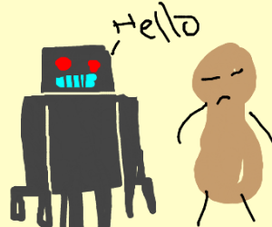 robot and peanut try and talk