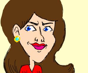 Smirking brunette woman