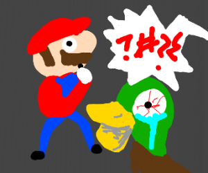 Mario watches duck being abused