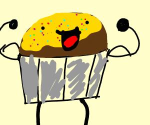 Laughing buff cupcake