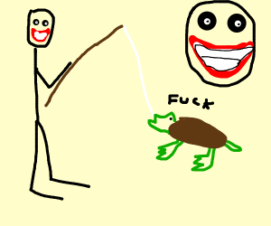 Man catching a turtle with a rod