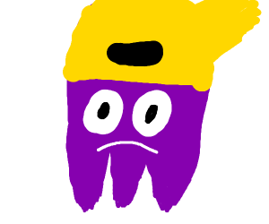 A purple ghost with yellow head thats sad