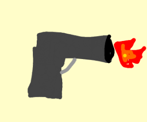 Gun shooting flames