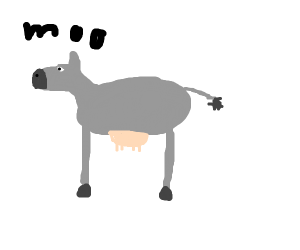 grey cow w/ thicc utters