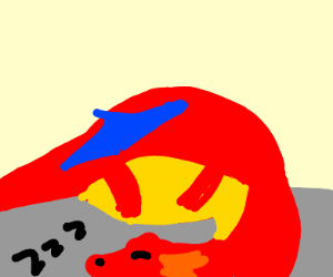 Big Red Dragon sleeping after a hunt