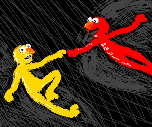 yellmo and elmo reaching out famous painting