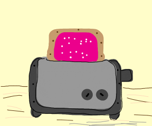 A strawberry poptart in a toaster