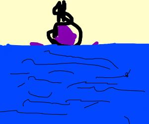 Purple dude hanging himself in water :(