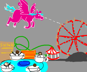 a flying horse sees a ferris wheel