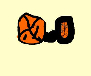A big basketball treating a small basketball