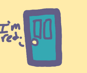 blue door has psychosis and thinks its red