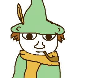 Elf boy smokin' a pipe
