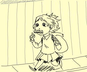 An Anime Girl is late for School