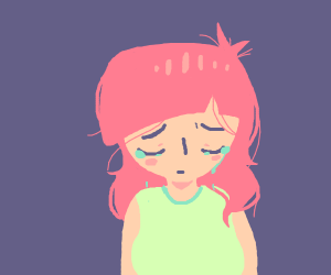 Depressed pink haired girl