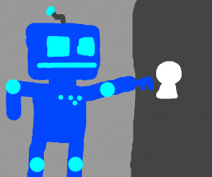 White keyhole and blue robot
